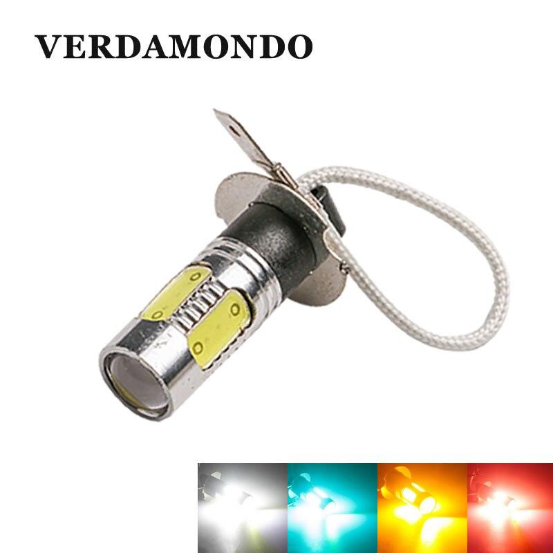 H3 LED Car Fog Lamp 7.5W PK22S Socket Tail Bulb Daytime Running Light Red Yellow White Iceblue DC 12V High Quality Super Bright