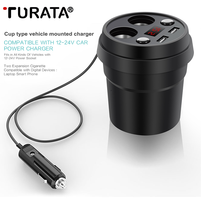 Turata Car Charger Socket 2 USB Cup Power Adapter Cigarette Lighter Splitter Portabl Mobile Phone Car-Charger Quick Charge 3.0