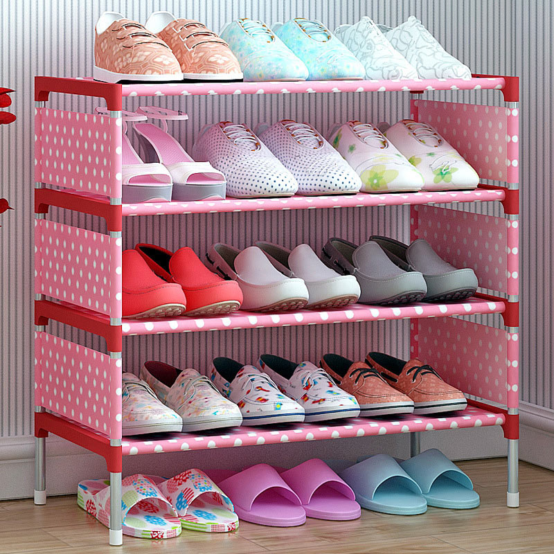 Shoes shelf Easy Assembled Non-woven 4 Tier Shoe Rack Shelf Storage Organizer Stand Holder Keep Room Neat Door Shoe storage cabi copper bathroom shelf basket soap dish copper storage holder silver