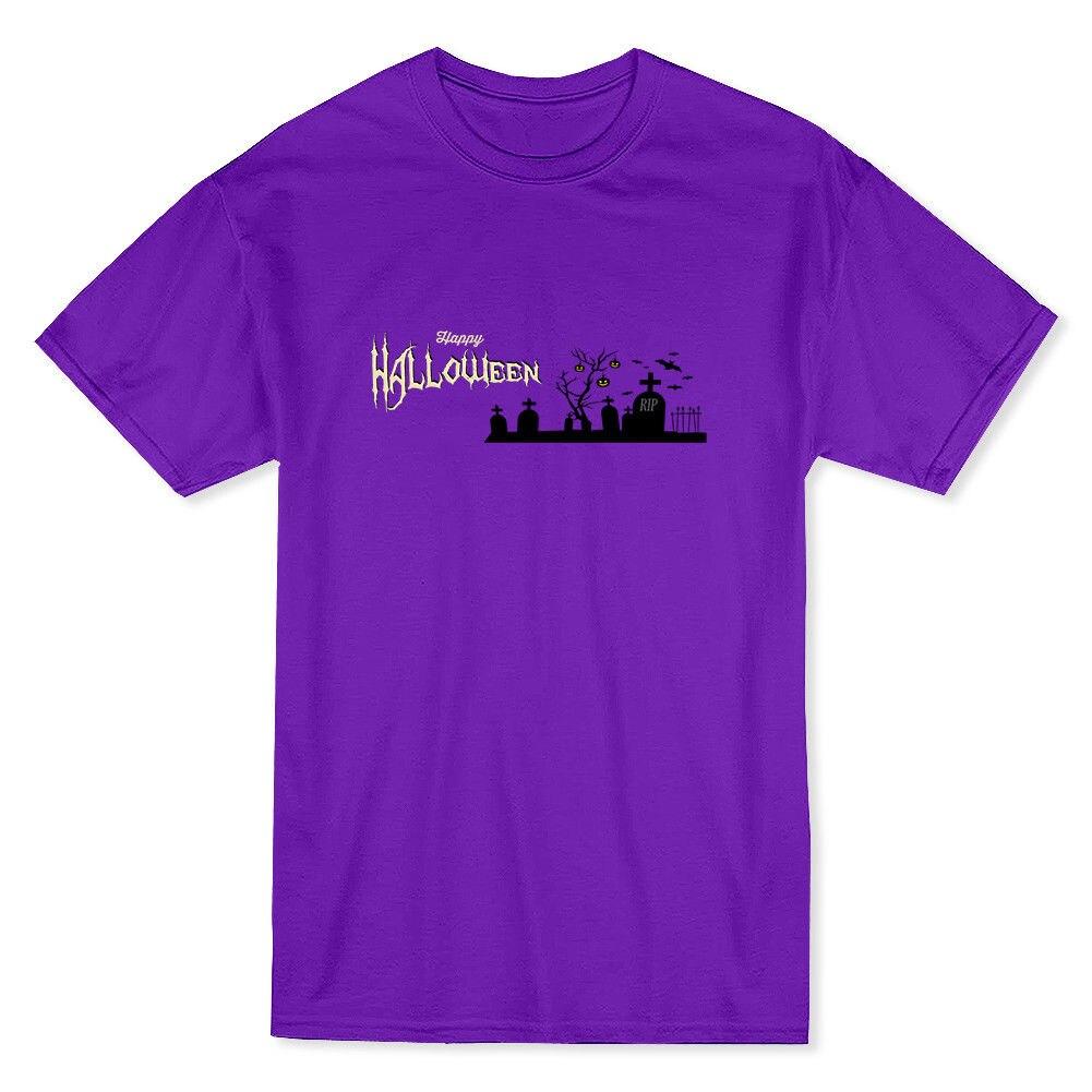 Happy Halloween R.I.P. Graveyard Mens Purple T-shirt
