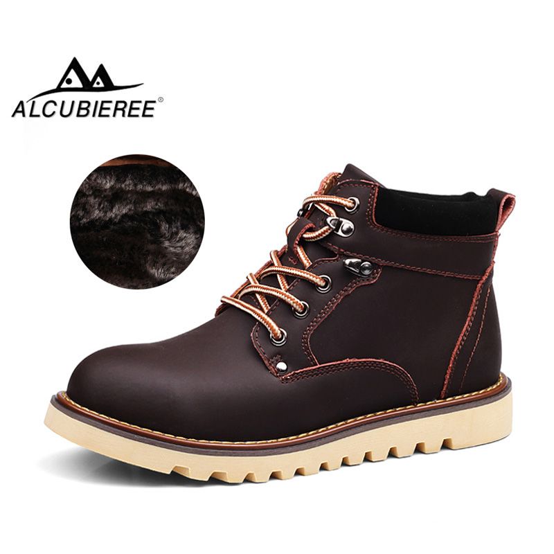 ALCUBIEREE Mens Fashion Martin Boots Winter Boots with Fur Men Warm Shoes Ankle Snow Boot Classic Leather Shoes Big Plus Size 46 ольга черных по имени кассандра