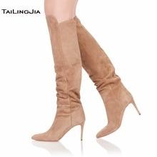 Elegance Woman Pointed Toe Black Knee Boots 9 CM High Heel Brown Ladies Boots Winter Keep Warm Slip On Shoes Big Size Wholesale цены онлайн