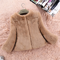 2017 New Autumn And Winter Seven Ms The Whole Sleeve Skin Rex Fur Coat Jacket Short