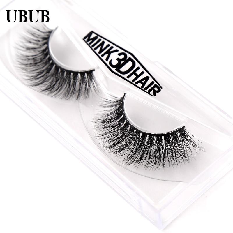1 Pair 100% Hand Made 3D Mink Eyelashes Natural False Eyelashes Extensions Eyelashes Transparent Box Pack Makeup Beauty Tools