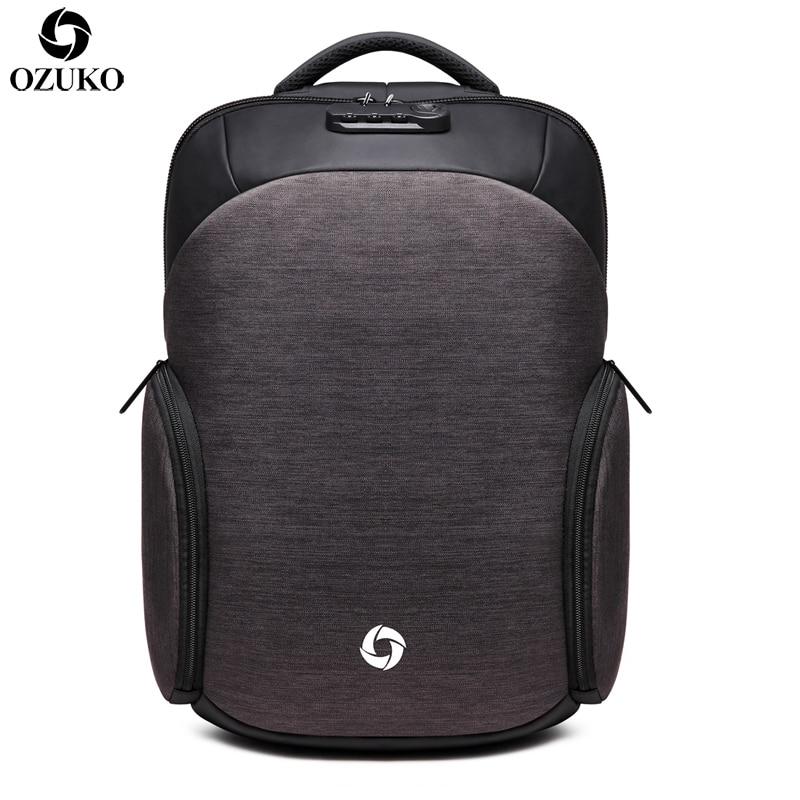 OZUKO Backpack Waterproof Male Mochila External USB Charge 15 6inch Laptop Backpack college Casual schoolbag Anti