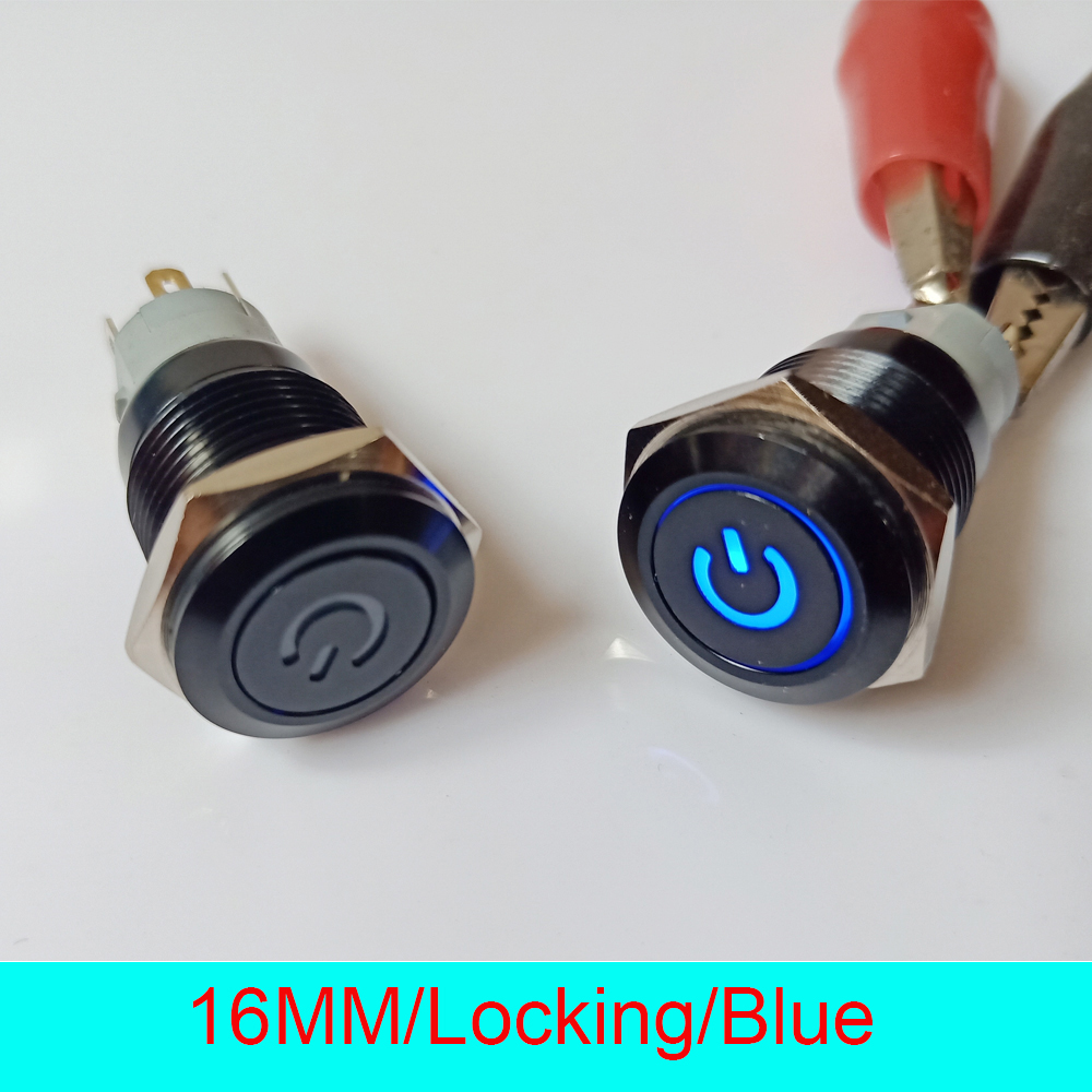 50pcs 16mm IP67 Waterproof Self Locking Latching ON OFF 12V LED Illuminated Black Power Metal Push