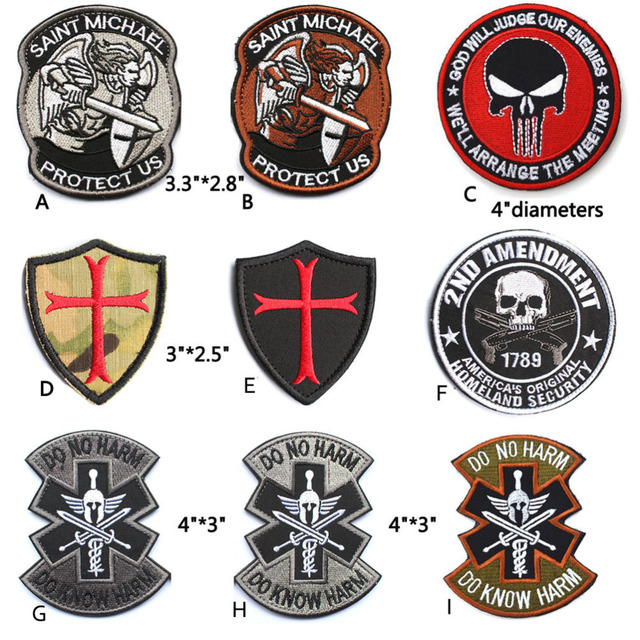 Embroidered Patches Saint Stmichael Protect Us Knights Templar