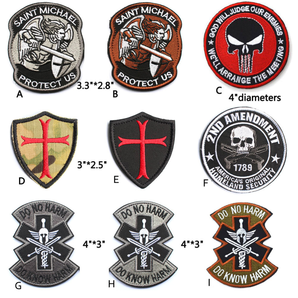 Saint stmichael protect us knights templar cross shield homeland saint stmichael protect us knights templar cross shield homeland security do no know harm punisher skull embroidered patch in patches from home garden on buycottarizona