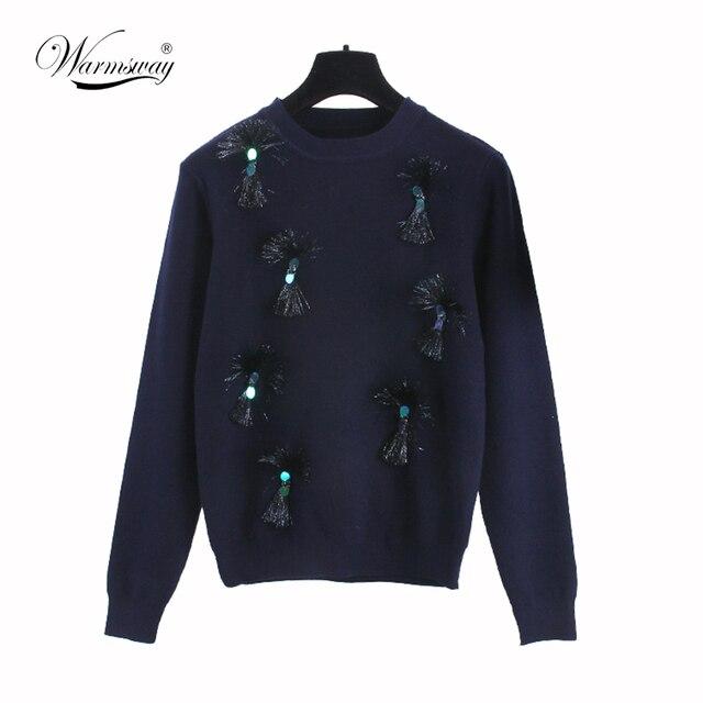 2016 Осень Зима шелковый лук свитер новый темно-синий кисточкой свободные хеджирование прекрасный высокое качество Коллаж сплайсинга WS-101
