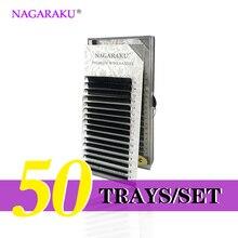 NAGARAKU 50 estuches al por mayor 7 ~ 15mm mix 16 filas/caja naturalmente Extensión de pestaña de visón artificial, hecho a mano, natural largo