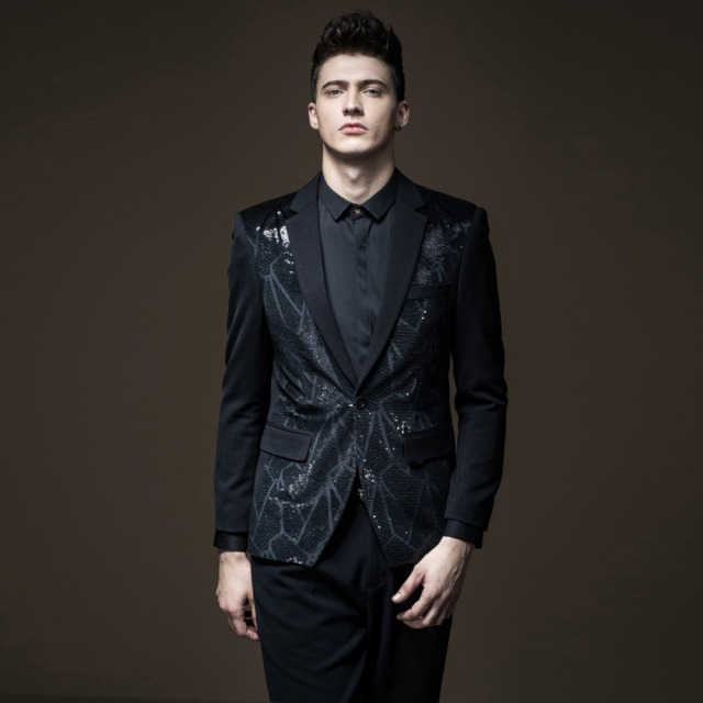 Free shipping new fashion casual men's male autumn spring slim Single black suit Western Jacket Autumn Sequins blazer B173406356