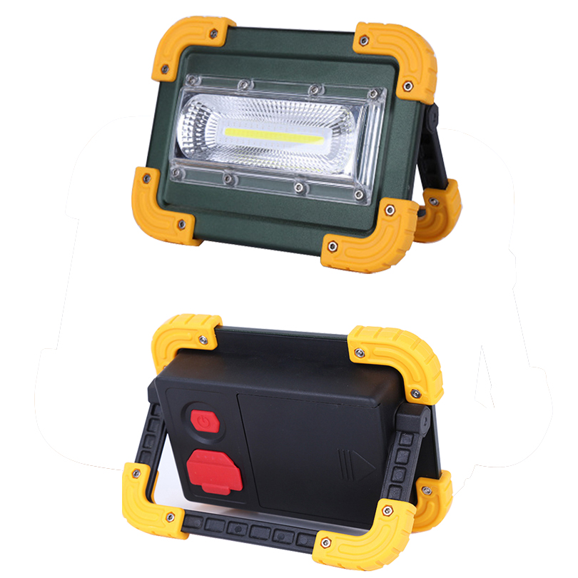Waterproof IP65 USB rechargeable led floodlight 20W portable 4 x 18650 battery led projector lamp outdoor led spotlight camping