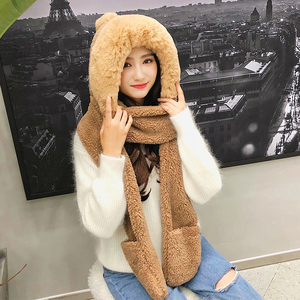 Image 5 - ZDFURS*Autumn and winter hat female plush thick double layer northeast hat warm cycling neck scarf scarf gloves one gift