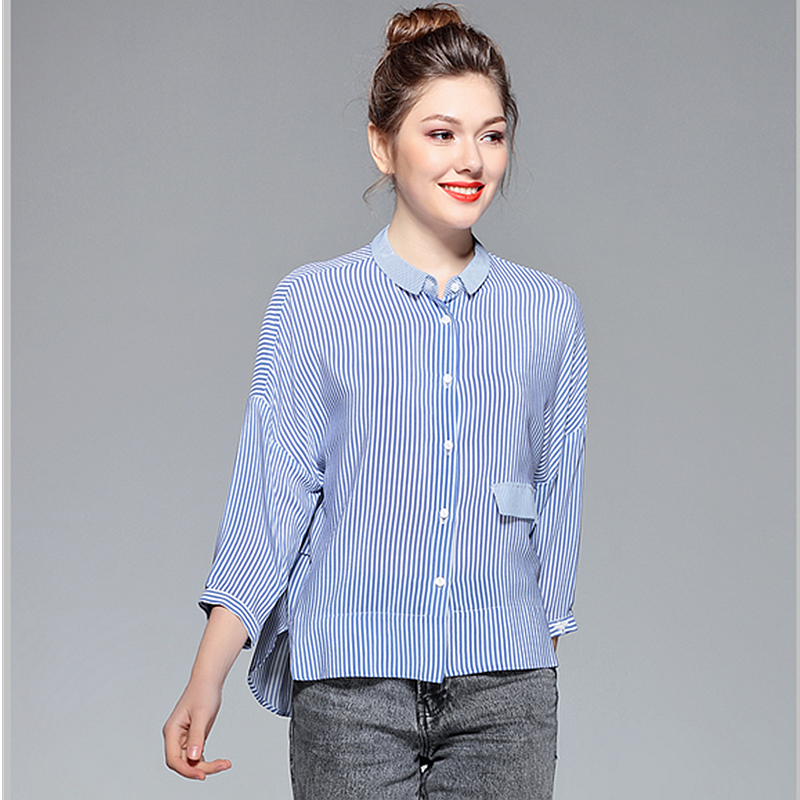 100% Silk Blouse Women Shirt Striped Loose Design Drop-shoulder Three-quarter Sleeves Casual Style Top New Fashion 2019 blouse