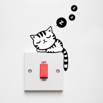 Cartoon Removable Cute Lovely Black Cat sleep Socket Switch Wall Sticker Vinyl Decal Home Decor Decal stickers on the wall dog 56 cute paw heart wall sticker creative cartoon cat dog lover vinyl wall decal home