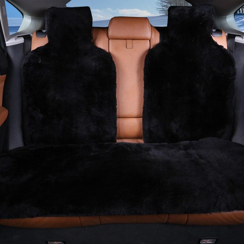 ROWNFUR 100% Naturel de fourrure en peau de mouton Australien housses de siège de voiture universel taille pour noir housse de siège accessoires automobiles 2016