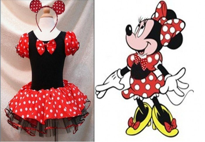 EMS DHL Free shipping 5 pcs/lot Toddler Girls Minnie Style Party Holiday Halloween Dot Dress Dance Wear Holiday Costume Headband