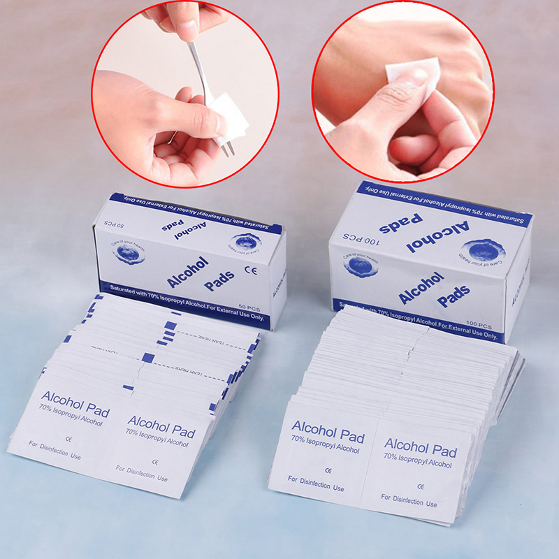 50/100 Pcs Alcohol Wet Wipe Disposable Disinfection Prep Swap Pad Antiseptic Skin Cleaning Care Jewelry Mobile Phone Clean Wipe