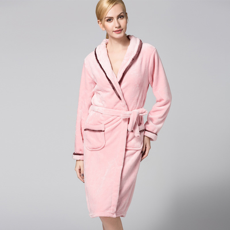 Super Soft Flannel Hooded Bathrobe Women Men Bath Robes