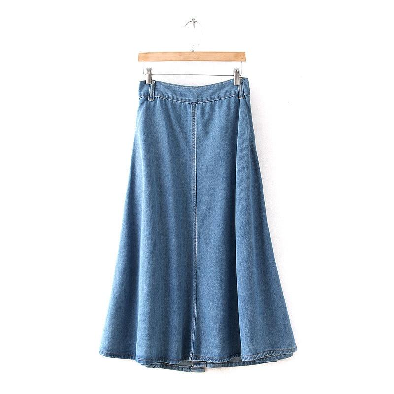 Long Jeans Skirt Women 2016 Ladies Denim Skirts Long Length With ...