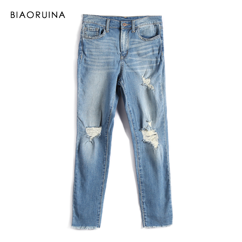 BIAORUINA Elegant Jeans Washing High-Street Women Scratched Casual-Holes Female Spring