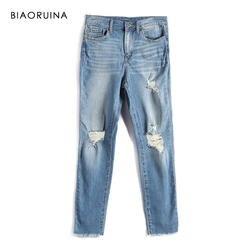 BIAORUINA для женщин Мода стиральная потертые джинсы джинсовый женский Повседневный отверстия джинсы для High Street Элегантные весна новое