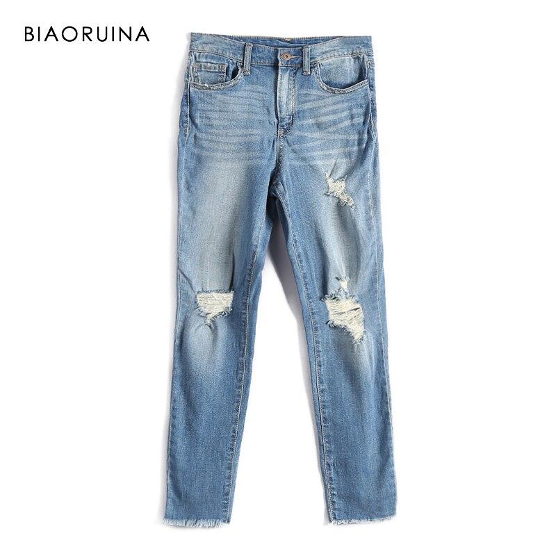 BIAORUINA Frauen Fashion Wasch Zerkratzt Denim Jeans Weibliche Casual Löcher Jeans High Street Elegante Jeans Frühjahr Neue Ankunft