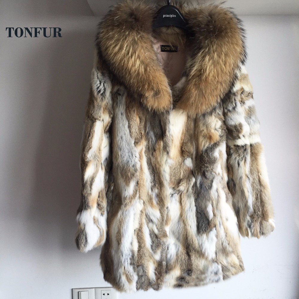 2019 Big Natural Raccoon Fur Collar Coat Real Rabbit Fur Overcoat New Arrival Top Sale Factory