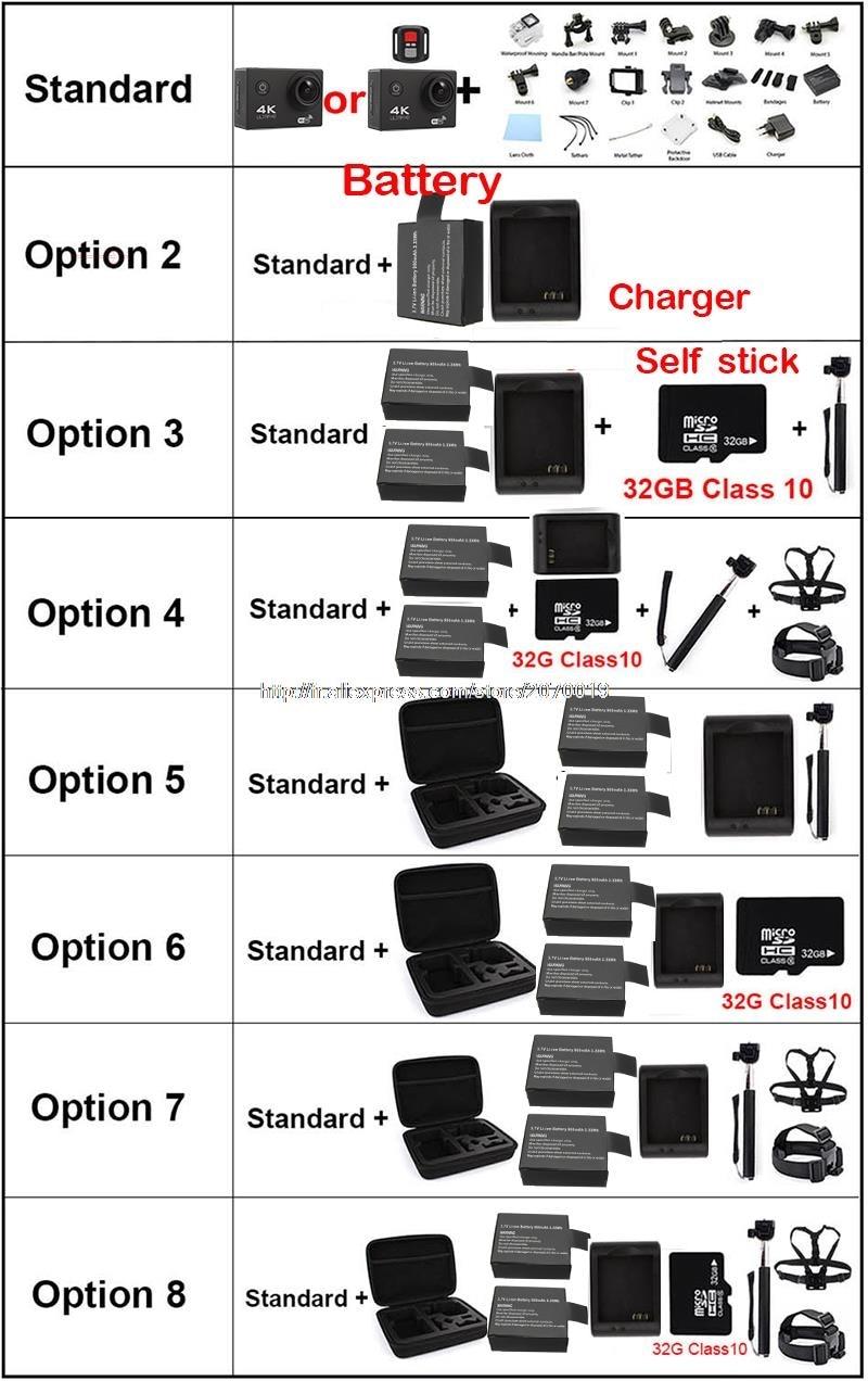 F60 / F60R 4K 30PFS 16MP WIFI Ultra HD Camera yi 1080P 60PFS 2 Inch Remote Control Waterproof Cam GO 3 pro hero 4 Action Camera