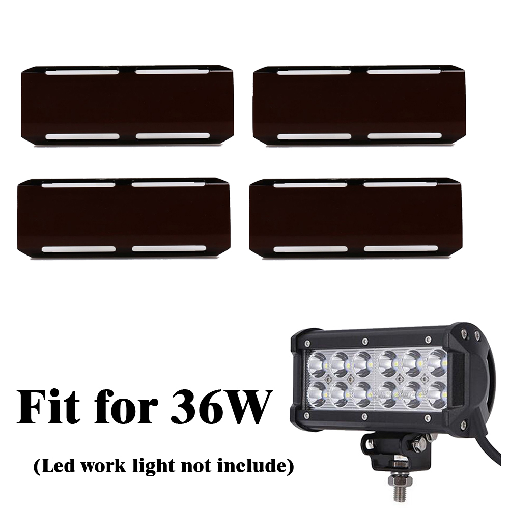 4PCS Snap on Black Lens Protective Cover Amber Red Green Clear Blue Shell For 7 inch 36W Led Work Light Bar 4WD ATV FOG LAMP
