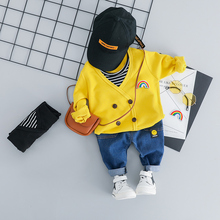 hot deal buy zwxlhh 2019 spring new baby boy girls clothing sets children kids clothes suit toddle infat rainbow shirt  pants casual suit