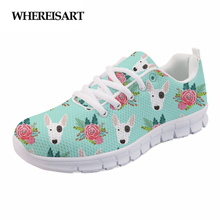 WHEREISART Fashion Women Spring Shoes Animal Bull Terrier Printed Ladies Sneakers Casual Female Flat Lace-up Woman Zapatos