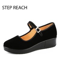 2017 Mary Janes Ladies Flats Buckle Strap Comfortable Women Shoes Round Toe Solid Casual Shoes Height