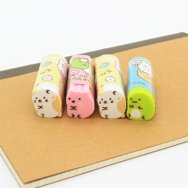 Cute Kawaii Cartoon Pencil Eraser Can Be Cut Rubbers Sumikko Gurashi For Student Gift Korean Stationery kawaii kitty melody twin star sumikko gurashi gudetama canvas big capacity pencil pen bag