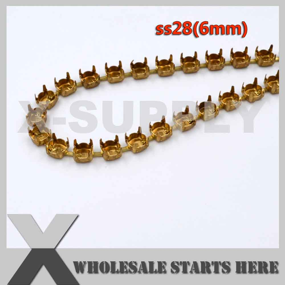 SS28 6mm Round Empty Cup Chain Without Rhinestones for Craft Shoe Jewelry Apparel Center Connectors