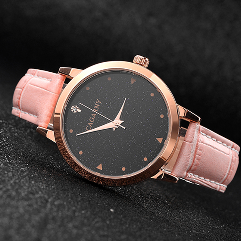 luxury brand cagarny quartz watch for women blue sky dials creative casual ladies watches rose gold case drop shipping (32)
