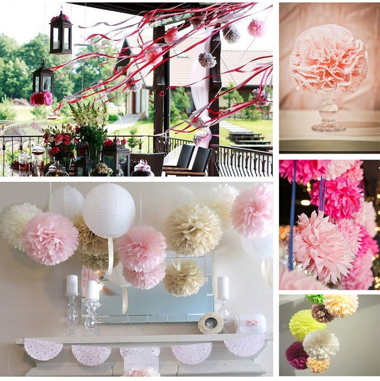 1pc Tissue Paper Flowers Paper Pom Poms Balls Lantern Party Wedding  Decoration Baby Shower Party Decoration Supplies