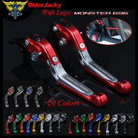 RiderJacky LOGO MONSTER 696 Motorcycle CNC Brake Clutch Levers For Ducati 696 MONSTER 2009 2014 Adjustable Extendable Foldable