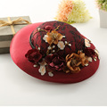 korea style women Gorgeous beauty flower elegent mother decoration lace vintage red wedding bridal hats fascinator for ladies