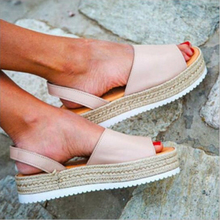Fashion Europe Summer 2019 New Women Sandals Fish Mouth Flat Platform Shoes Woman Wedges Casual Slip-On Plus Size 34-43