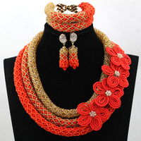 Shining Champagne African Beads Party Popular Nigerian Beaded Jewelry New Arrival Large Stock Free Shipping hx337