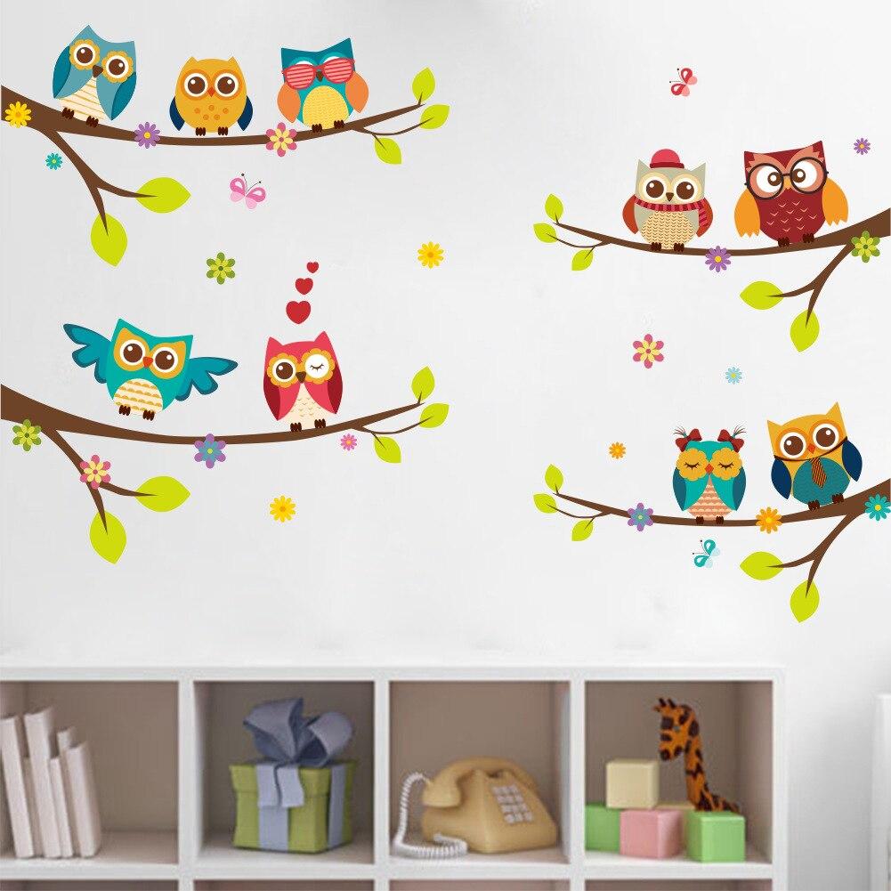 Dessin animé hiboux sur Branches vinyle Stickers muraux drôle coloré Animal Stickers muraux pour enfants chambres chambre décor à la maison ZY242