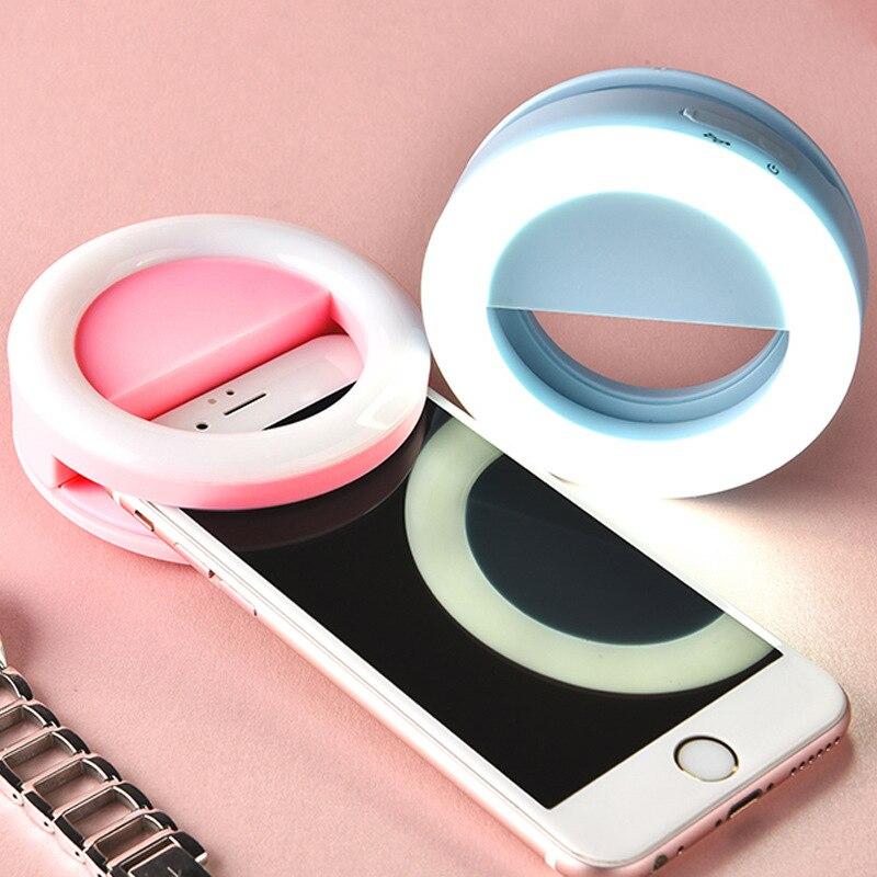 Aingslim Перезаряжаемые селфи кольцо света Портативный светодиодной вспышкой повышения фотографии кольцо света для IPhone смартфон вечеринок