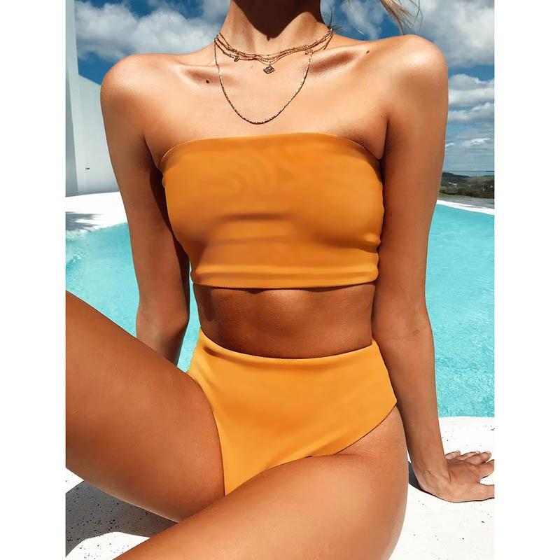 HTB15ataauL2gK0jSZFmq6A7iXXad High Leg Bandeau bikini set Swimwear female two pieces swimsuit High Waist Bikini Women Bathing Suit biquini