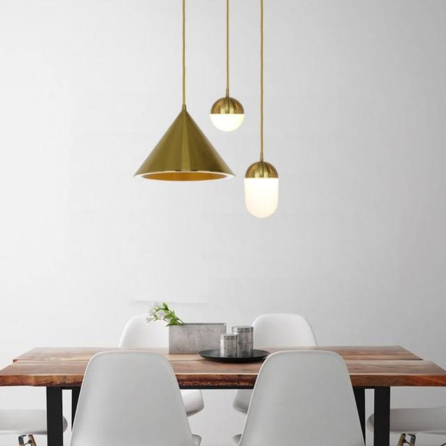 Regron Nordic Pendant Lighting Drawing Brass Aluminum Suspension Luminaire Gold New Halo Single Bar Led For Restaurant