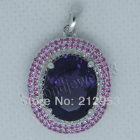 Jewelry Sets Vintage Oval 12x15mm Solid 18Kt White Gold Diamond Amethyst Pendant P0072