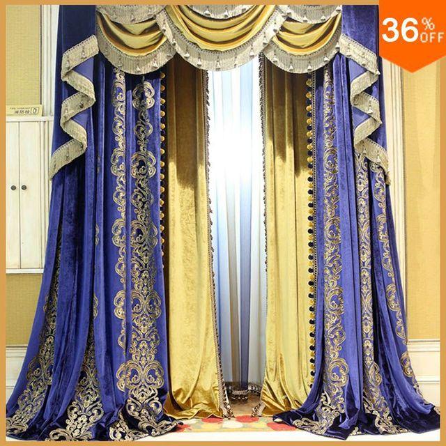 Egypte ancienne arbustes rideaux pour chambre à coucher stores bleu ...