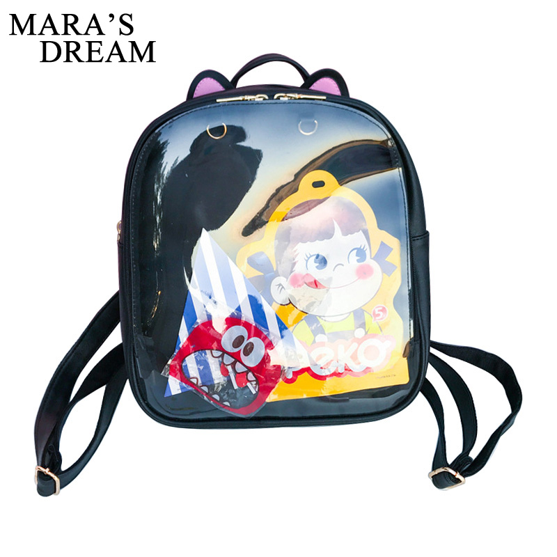 มารฝันหูแมวน่ารักเป้หนังสีขนมถุงโปร่งใสผู้หญิงกระเป๋าสะพายโรงเรียนวัยรุ่นสาวเดินทางB Agpack