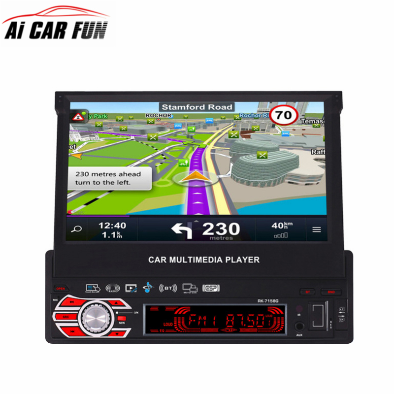 Full Automatic Retractable Screen MP5 Player Car Radio Multimedia Player RK-7158G MP5 /MP4/MP3/AM GPS Navigation Steering Wheel 2 din car radio mp5 player universal 7 inch hd bt usb tf fm aux input multimedia radio entertainment with rear view camera
