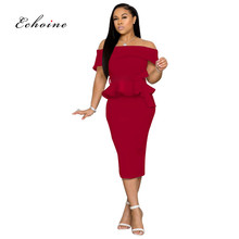 Echoine Office Lady Dresses Women Ruffle Bow Sash Slash Neck Off Shoulder Sexy Split Hem Party Evening Female Robe Woman Clothes